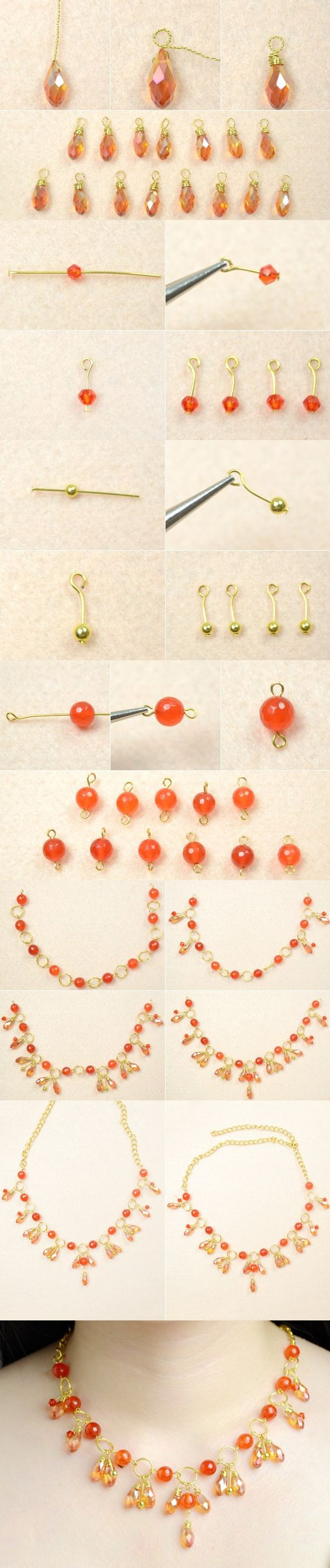 Tutorial for orange cluster beaded necklace from LC.Pandahall.com
