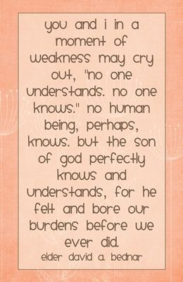 You and I in a moment of weakness may...quote DAVID A. BEDNAR
