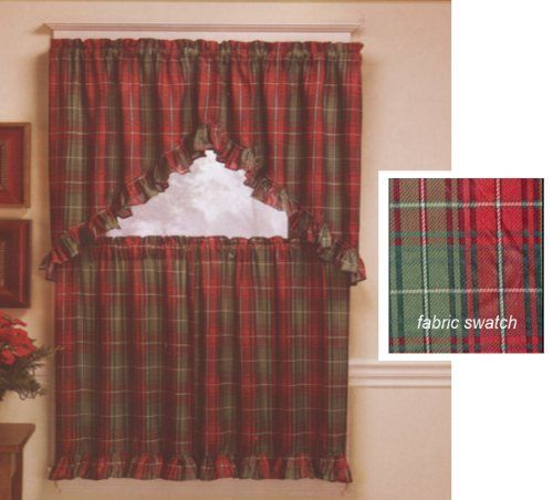 Curtains Ideas 36 wide shower curtain : Christmas Plaid Tier And Swag Complete Curtain Set - - Holiday ...