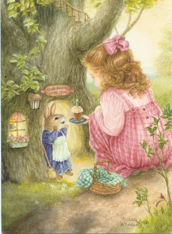 Susan Wheeler  (...cr....I have loved, ever since a little girl, to be able to look into little animals homes....this is so cute....just makes me wonder what the rest of the bunny's house looks like)