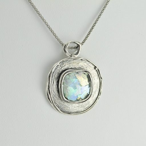 """[1091] sterling silver ancient roman glass square pendant on 18"""" chain"""