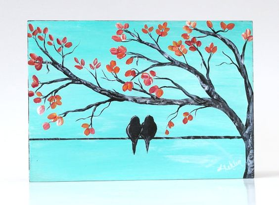 Wedding Gift Paintings: 5th Anniversary Gift Romantic Gift Bird On A Wire Art