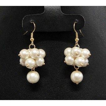 Aretes de Moda con Chapa de Oro y Perlas