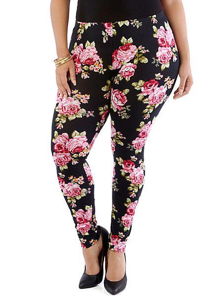 Plus Size Floral Leggings