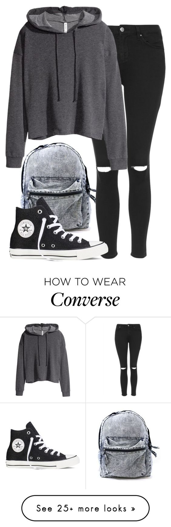 """Sans titre #249"" by sara-benhamida on Polyvore featuring Topshop, H&M and Converse"