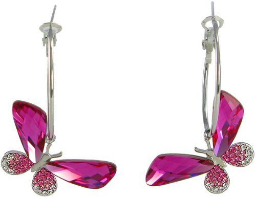 Butterfly Hoop Swarovski Elements Crystal Earrings (Pink) Arco Iris Jewelry. $33.95. Rhodium plated (Tarnish-free). Hypoallergenic Hoop. Made with Genuine Swarovski Elements. Money-back Satisfaction Guarantee. Available in Purple, & Pink Colors. Save 64%!