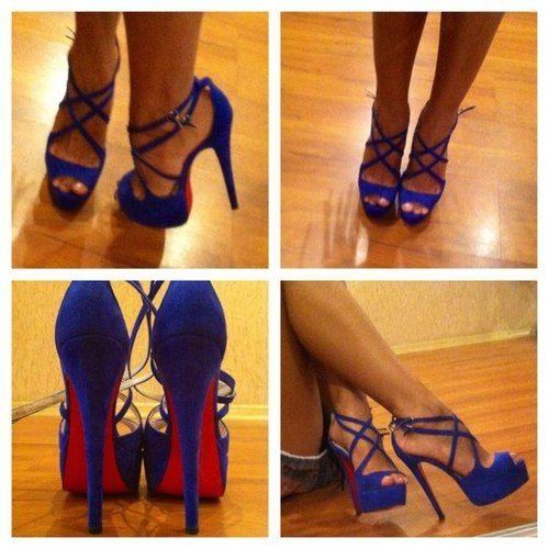 blue strappy heels shoes fashion legs tan feet | Shoes | Pinterest ...