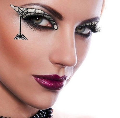 Details about Sexy Witch Goth Spider Black Widow Costume ... Sexy Halloween Eye Makeup