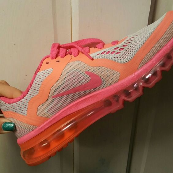 Neon pink and orange Nike shoes *SOLD* Worn twice just too small for me. Nike Shoes Sneakers