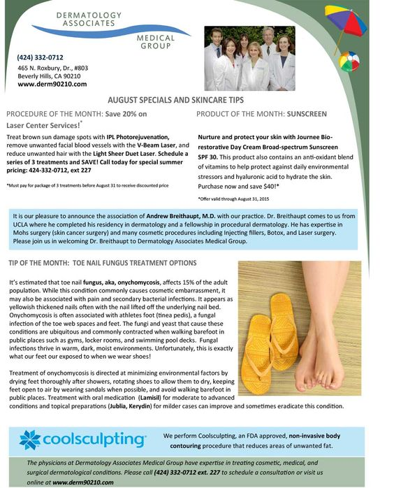 August 2015 Newsletter: Toe Nail Fungus Treatment Options