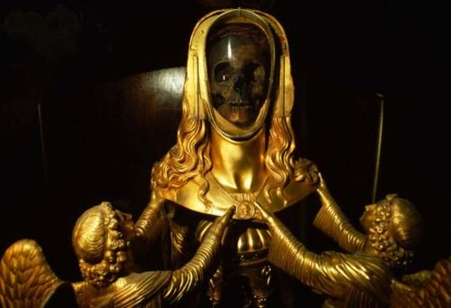 """Believing this to be the skull of Mary Magdalene when it was found in the 1200's, French Catholics encased it in gold, evoking a luminous specter of the woman the Bible describes as one of Christ's most loyal followers. It is displayed at a basilica in St.-Maximin-la-Ste.-Baume."""