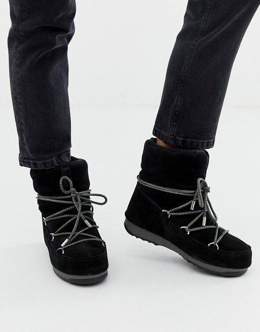 Moonboot Low Suede Waterproof Boot In Black Moon Boots Snowboarding Women Gear Boots