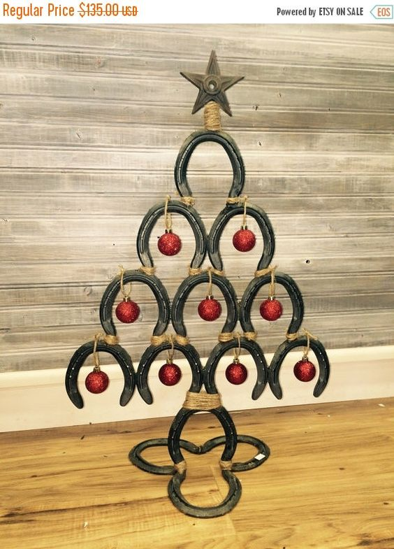 ON SALE - Horseshoe Christmas Tree - Western style home decor ...