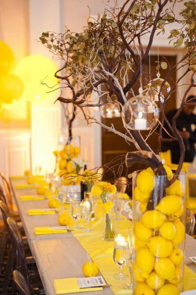 Loving all the lemons and yellow in these centerpieces! #weddingdecor #weddingideas {Studio DBI}