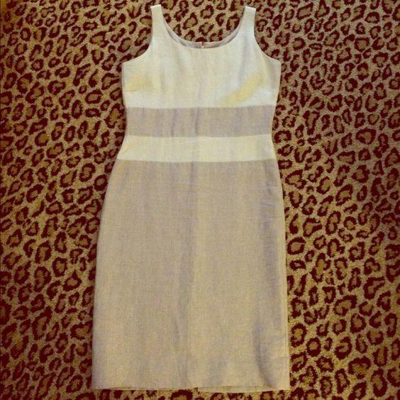 Peruvian Connection Linen Dress 100% linen. 2-toned cream & beige linen color block. Excellent condition! Peruvian Connection Dresses Midi