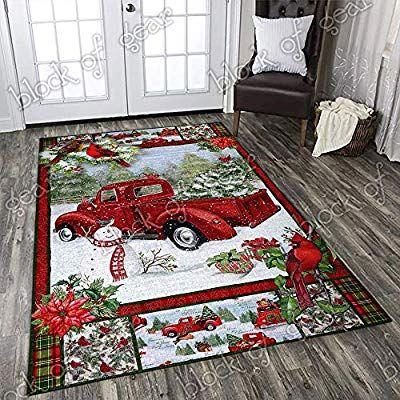 Geembi Christmas Red Truck Snowy Cardinals Area Rug Pn44rb 3 X 5 Area Rugs Fluffy Carpets For Bedroom Shaggy Floor Modern Home Decor Decor Sitting Room Decor