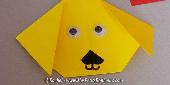 chien origami pliage papier avec yeux mobiles projet chienenfants pinterest origami et mobiles. Black Bedroom Furniture Sets. Home Design Ideas