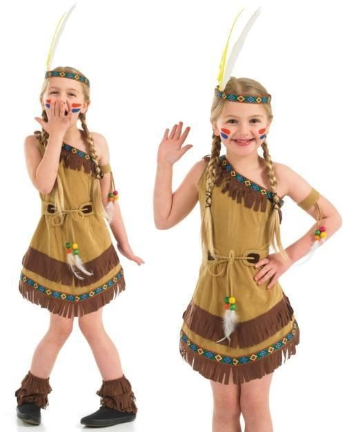 Unsiex Native Red Indian Pocahontas Ladies Fancy Dress Squaw Outfit Costume