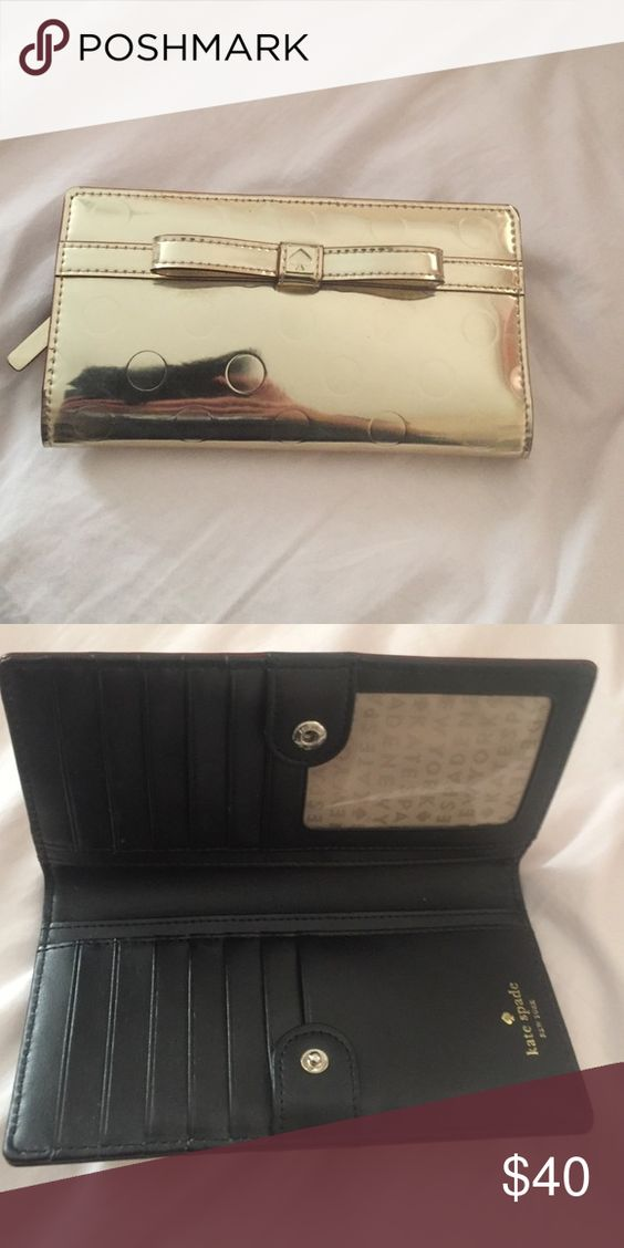 Kate spade gold bow wallet Good as new kate spade Other