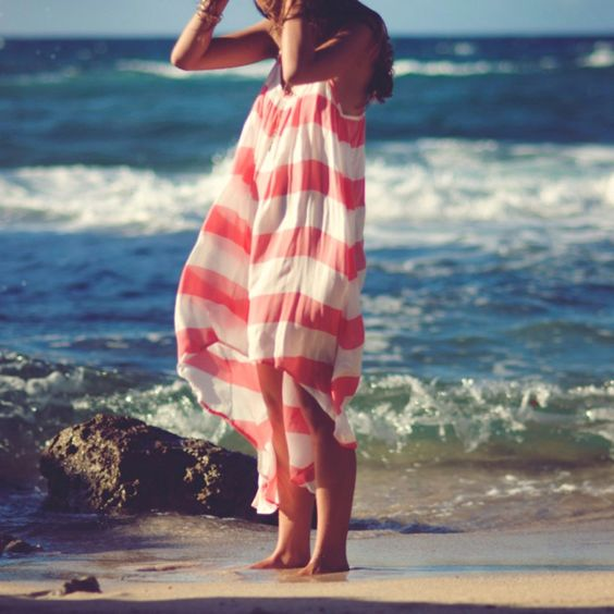 Red stripes on the beach