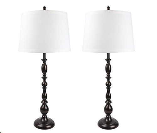 Urbanest Parker Set Of 2 Oil Rubbed Bronze Table Lamps With Off White Linen Shades Table Lamp Lamp Sets Table Lamp Sets