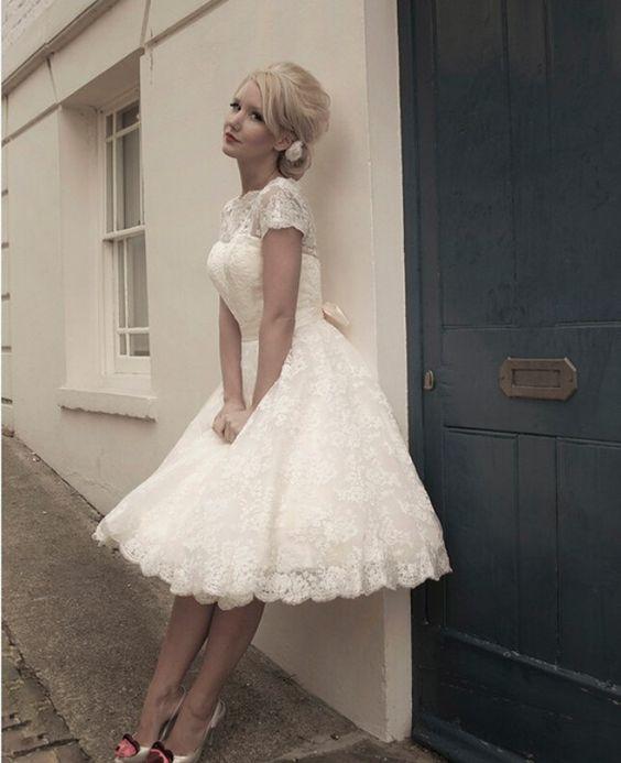A-Line Tea Length Lace Short Wedding Dress: