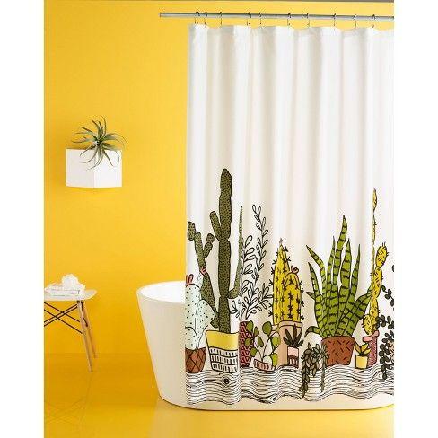 Plants Print Shower Curtain Restful Green Room Essentials