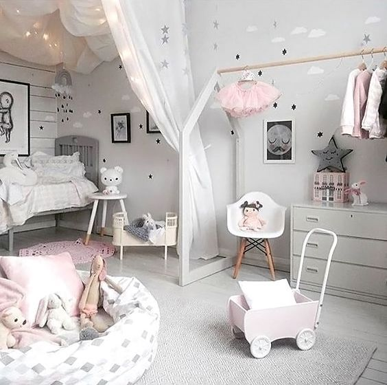 Love This Pretty Little Girl S Room Rosaline Doll Bed Maileg Soft Bunny And Cam Cam Rainbow Mobile Are All Availa In 2020 Kids Bedroom Decor Kid Room Decor Girl Room