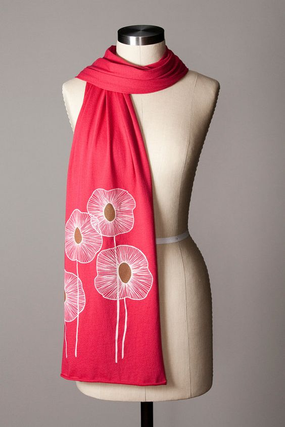 jersey scarf  floral scarf  abstract flower scarf  by flytrap, $28.00