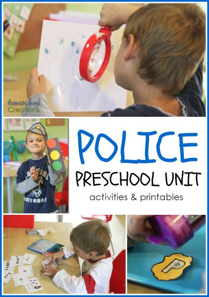 police preschool unit activities and printables from Homeschool Creations: