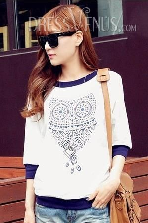 Top Quality Round Neckline Owl Print Half Sleeves T-shirt , Round
