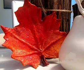 Paper mâché autumn leaves