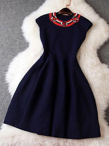 #413 Diamond Beaded Sleeveless Dress   Dresses Up