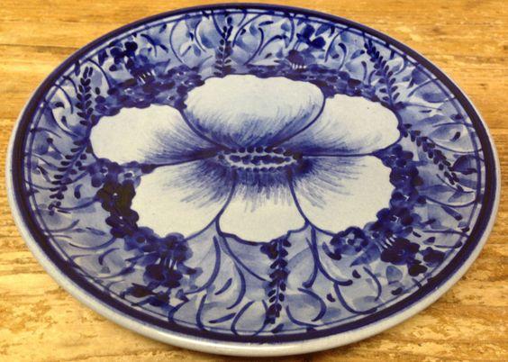 Mexican Pottery Ceramica Artistica Gomez Foot Blue Pansy 1 Salad Dessert Plate