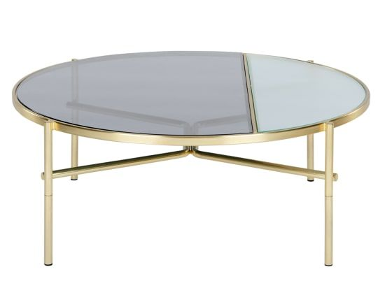 Stanley Coffee Table Smoked Rippled Glass And Brass Table Basse Table Basse Verre Verre Fume