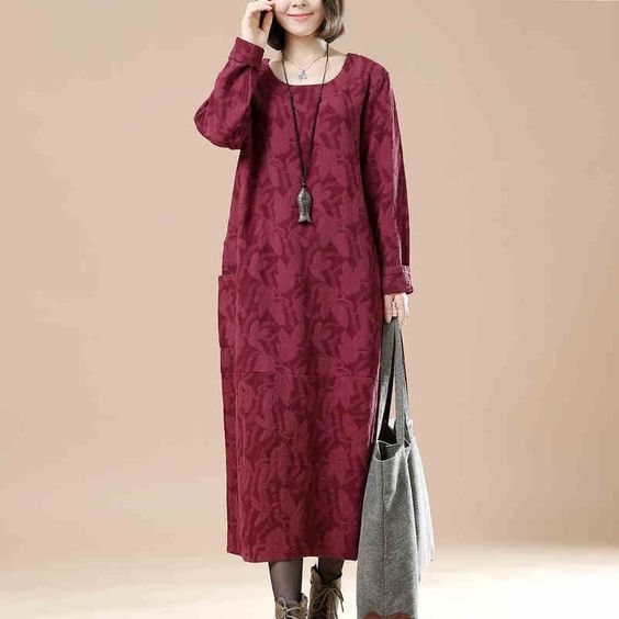 Wine Red Cotton Linen Casual Long Sleeve