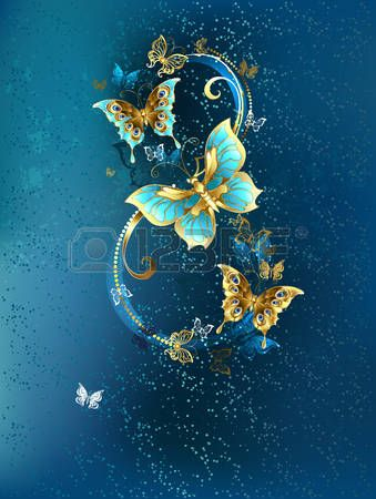 Eight of the luxury, butterflies jewelry on blue textured background. Photo