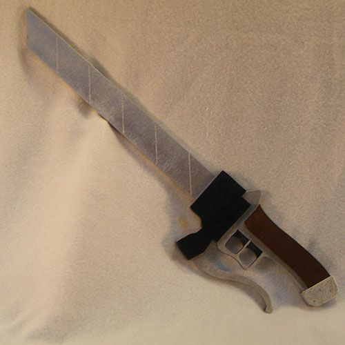 Attack on Titan Sword    The Attack on Titan 3D Maneuver Gear Sword made out of wood and lightweight.   Visit www.AllTru2U.com for pricing and purchase.
