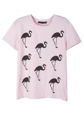 Shop Pink Flamingo Print Short Sleeve T-shirt from choies.com .Free shipping Worldwide.$17.99