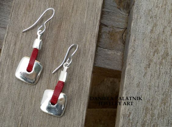 Hey, I found this really awesome Etsy listing at https://www.etsy.com/listing/223364431/silver-dangle-earrings-red-leather