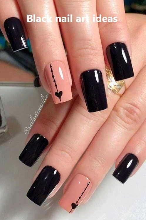 20 Simple Black Nail Art Design Ideas Blacknaildesign In 2020 Black Nail Designs Black Nail Art Black Coffin Nails