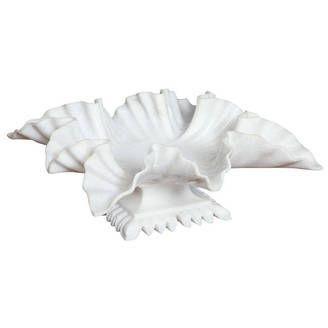 White Marble Carved Leaf Bowl