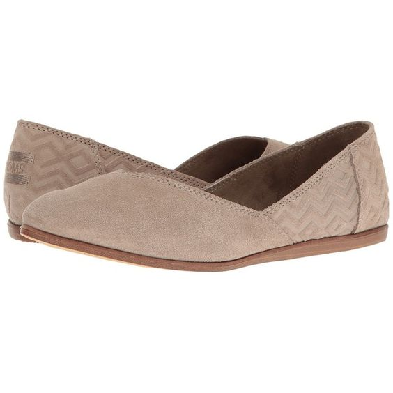 TOMS Jutti Flat (Desert Taupe Suede Diamond Emboss) Women's Flat Shoes ($84) ❤ liked on Polyvore featuring shoes, flats, flat pump shoes, perforated flats, pointy-toe flats, flat pointy shoes and striped flats