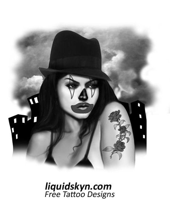 lady joker clown tattoos designs free tattoo designs joker pinterest lady clown. Black Bedroom Furniture Sets. Home Design Ideas
