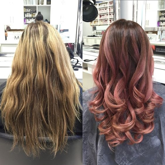 Rose gold ombré beforeandafter olaplex balayage hairpainting ombré ombréhair