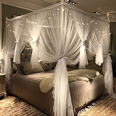 Joyreap Mosquito Bed Canopy Net Luxury Canopy Netting 4 Corners Post Bed Canopies Princess Style Bedroom Decoration For Adults Diy In 2019 Bedroom Decor Canopy Bed Curtains Luxurious Bedrooms