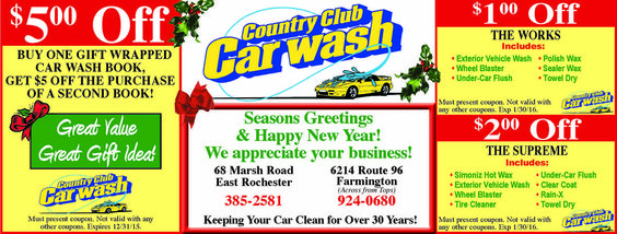 Country Club Car Wash offers savings on your wash and wax! Clean your car before the winter to preserve it and treat it.