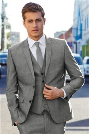 Grey Check Slim Fit Suit from Next | Men's Fashion | Pinterest