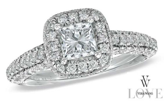 Vera Wang LOVE Princess Cut Halo Engagement Ring from Zales