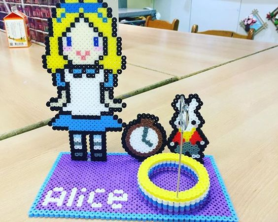 Alice photo holder perler beads by wonderlond_ken